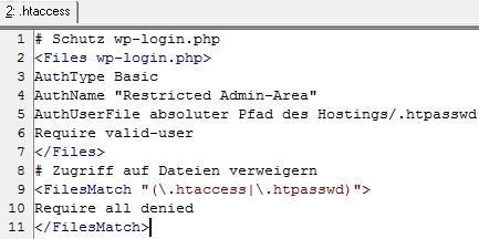 Verzeichnisschutz wp-login htaccess