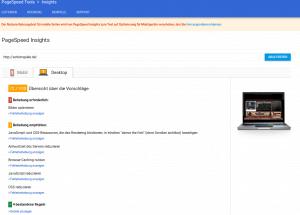 Optimierung von Ladezeit mit PageSpeed Insights